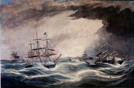 The loss of the Pennsylvania, New York Packet Ship, the Lockwoods Emigrant Ship. Artist Samuel Walters.