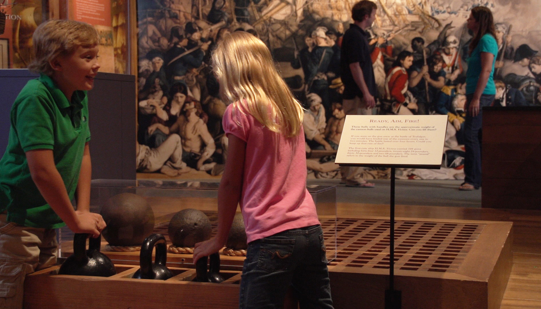 Lifting cannonballs in The Nelson Gallery