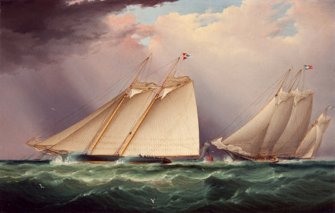 """""""Dauntless and Sappho Rounding the Mark, 1871"""" by James Edward Buttersworth"""