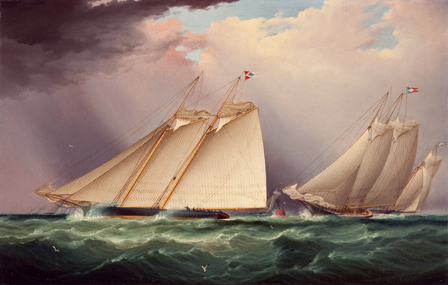 """Dauntless and Sappho Rounding the Mark, 1871"" by James Edward Buttersworth"