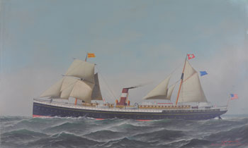 Ship painting shown before treatment. The picture is darkened and obscured by grime and old, discolored varnish.