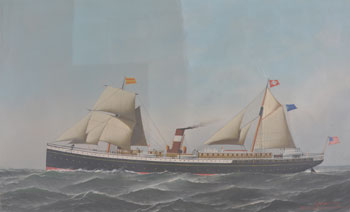 Ship painting during surface cleaning. The left area is uncleaned; the middle area has been cleaned of grime; the right area has been cleaned of both grime and discolored varnish.