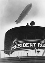 Photograph Airship Akron over Ferry Boat President Roosevelt by Percy Loomis Sperr