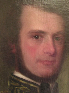 Portrait painting after recent conservation treatment. The splotchy overpaint was disguised by adjusting the color with new inpainting.