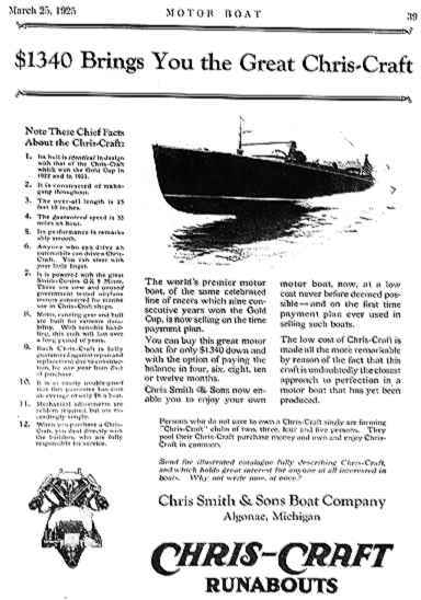 Chris-Craft Motor Boat Flyer, March 25, 1925