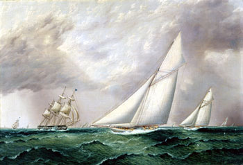 Painting of Yachts Vigilant & Jubilee by James E. Buttersworth