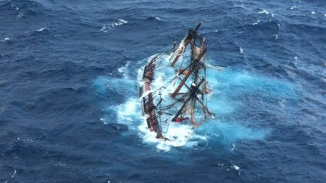 Photo of HMS Bounty replica sinking during hurricane Sandy, 29 October 2012