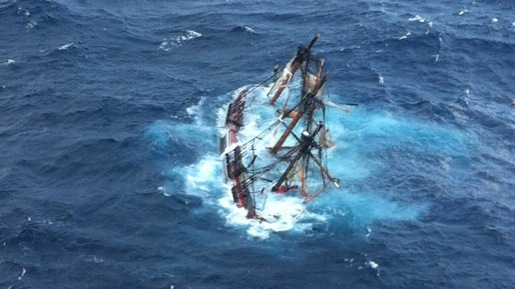 HMS Bounty replica sinking during hurricane Sandy, 29 October 2012