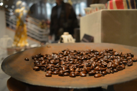Coffee beans on display at Coffee: The World in Your Cup