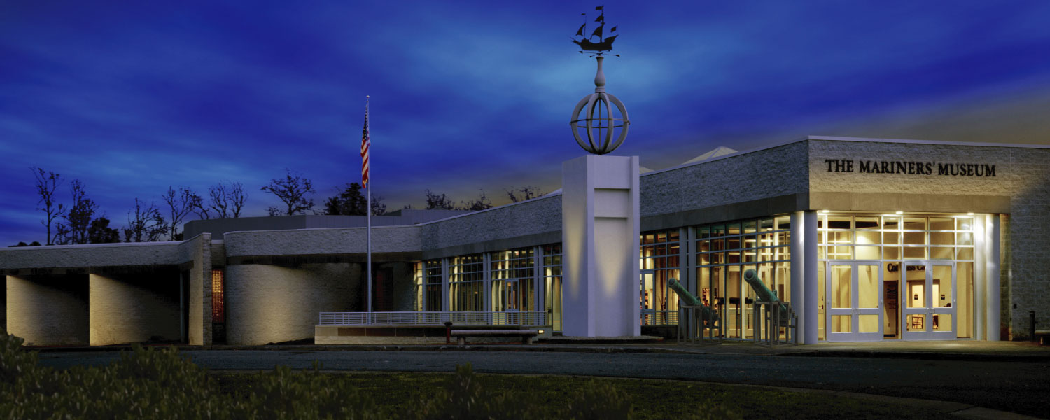 Front of Mariners' Museum at night