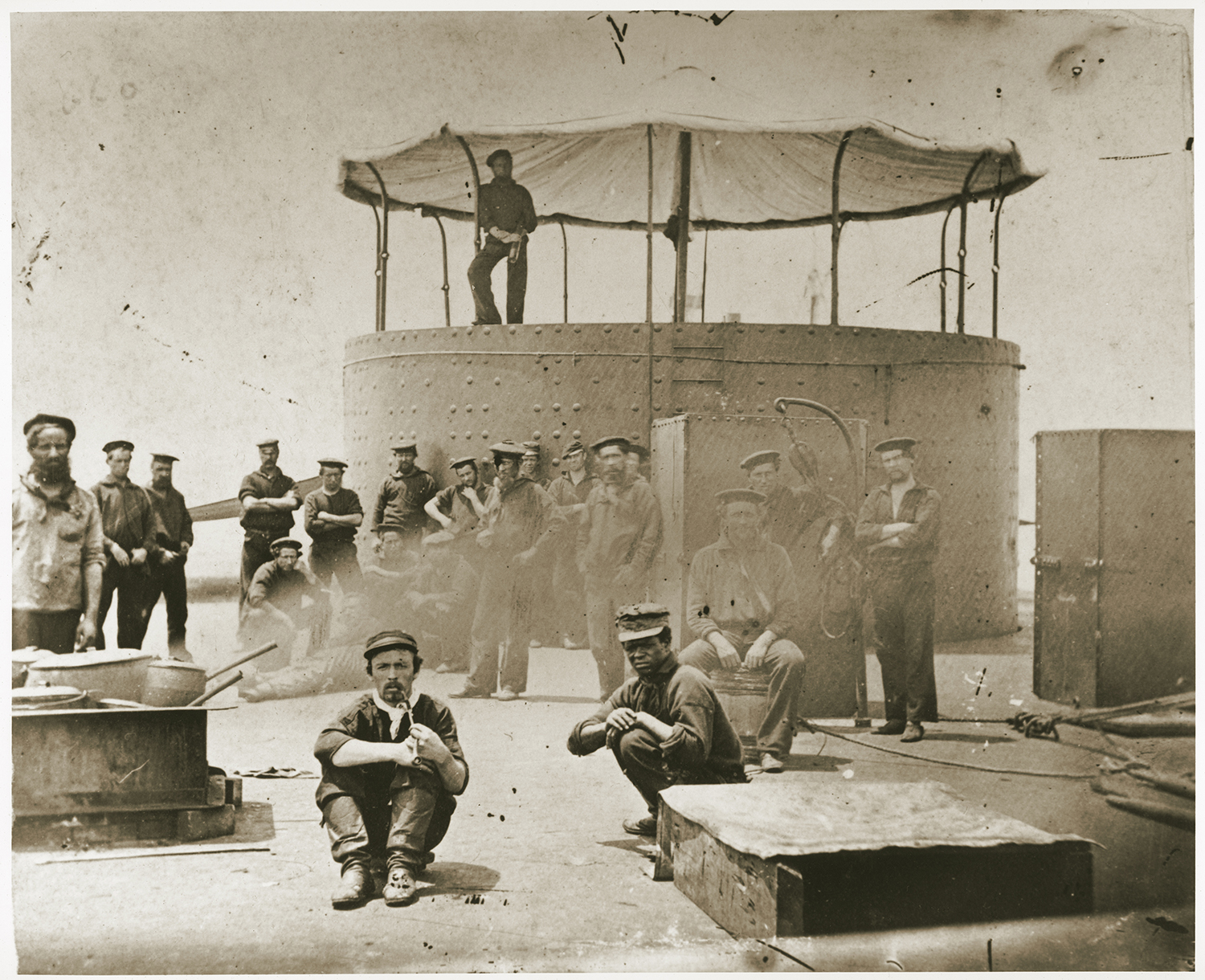 USS <em>Monitor</em> crew cooking on deck, July 9, 1862, by James F. Gibson