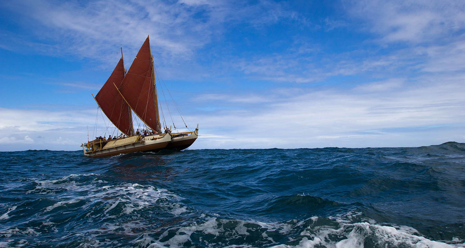 Hōkūle'a image, courtesy of the Polynesian Voyaging Society ® (Photo by ʻOiwi TV)