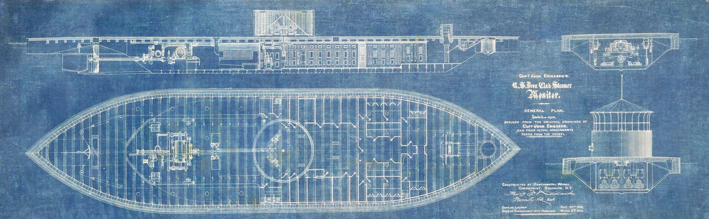 A USS <em>Monitor</em> blueprint, on linen, from the Thomas F. Rowland Collection, used by Continental Iron Works in Green Point, New York