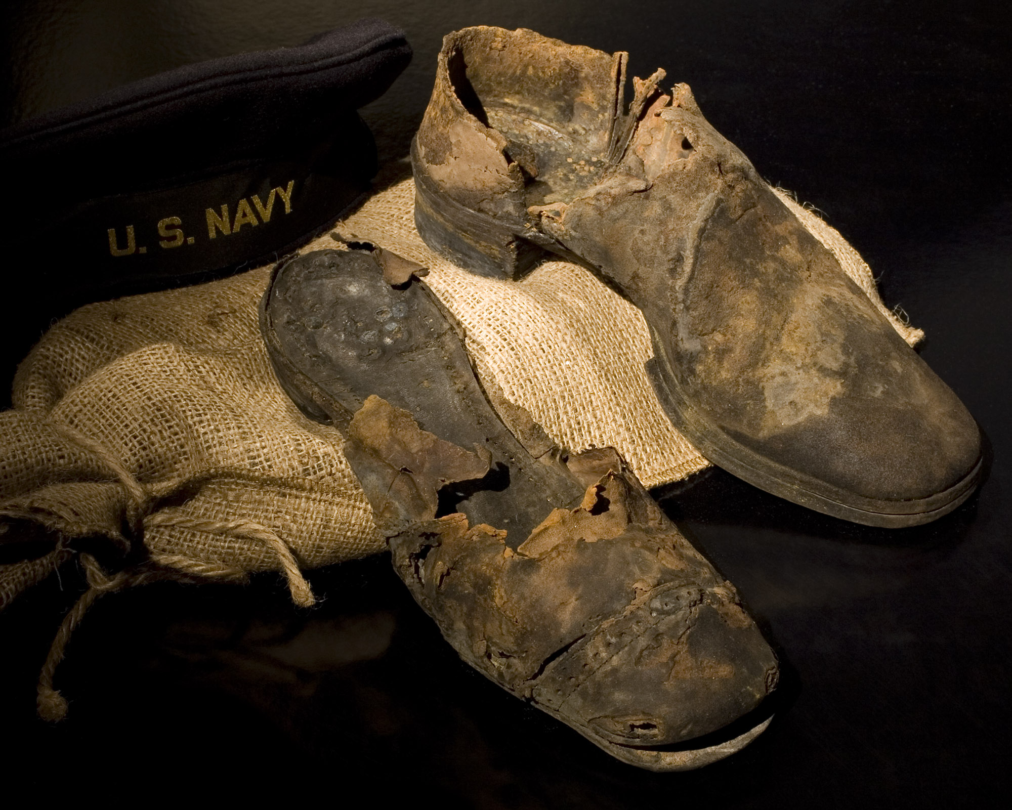 Two leather shoes found in the <em>Monitor</em>'s turret, recovered in 2002