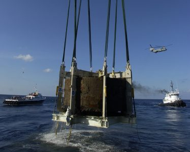 The <em>Monitor</em>'s turret recovered, on August 5, 2002, courtesy of NOAA