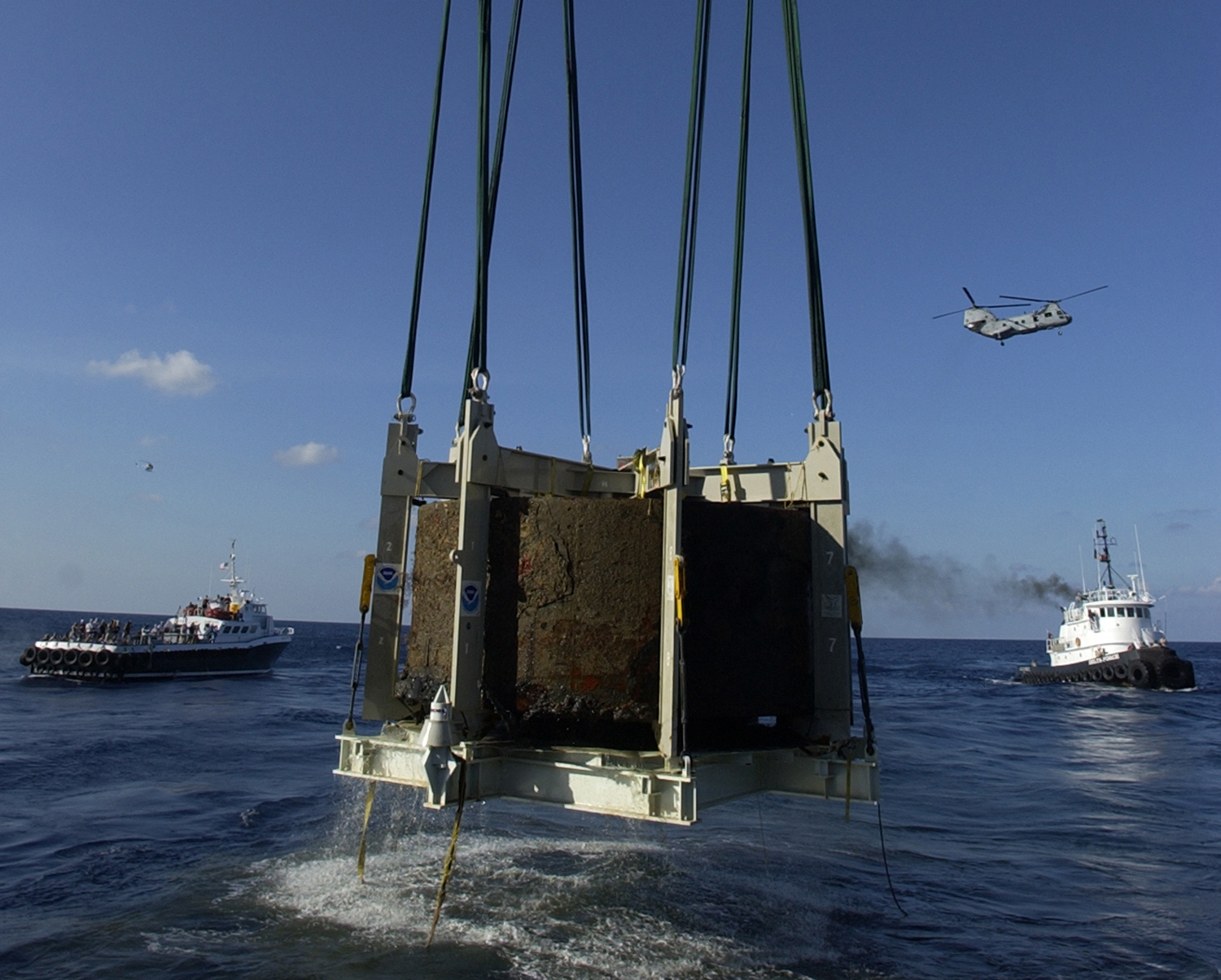 The <em>Monitor</em>'s turret recovered on August 5, 2002, courtesy of NOAA