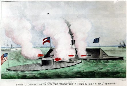 Painting of the <em>Monitor</em> and Merrimac in battle