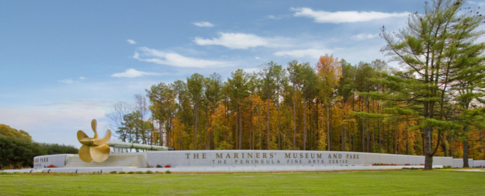 Museum entrance sign, in fall