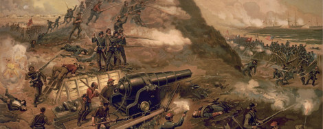 Painting of the Civil War battle in Wilmington, North Carolina.
