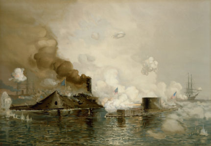 LP2956 USS <em>Monitor</em> and Merrimac, First Fight Between Ironclads, 1886 by Julian O. Davidson.