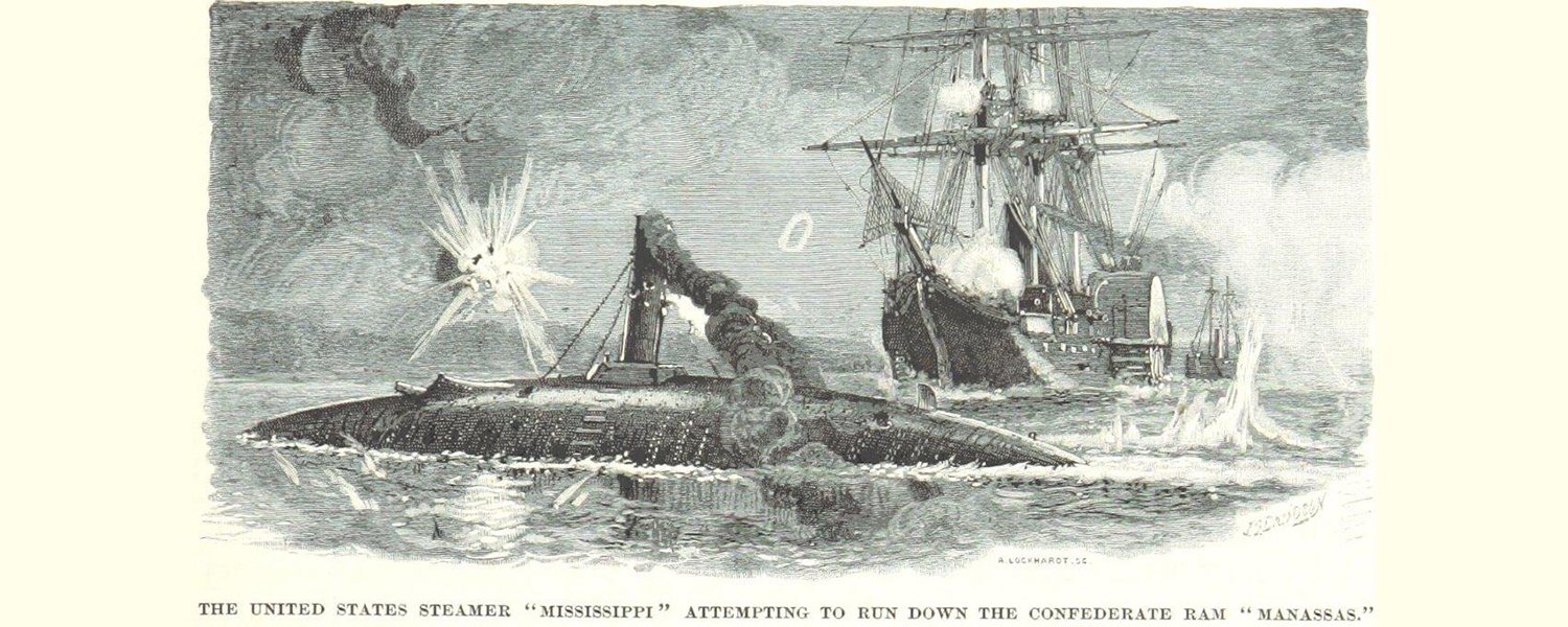 During the Battle of Forts Jackson and St. Philip, the Union frigate USS Mississippi tries to ram the Confederate ironclad CSS Manassas