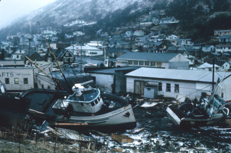 Alaska 1964 Good Friday earthquake and tsunami damage (NOAA, 1964).
