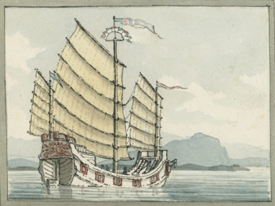 Watercolor of an Ancient Chinese Junk Ship by William Farington
