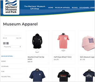 Image of the online gift shop