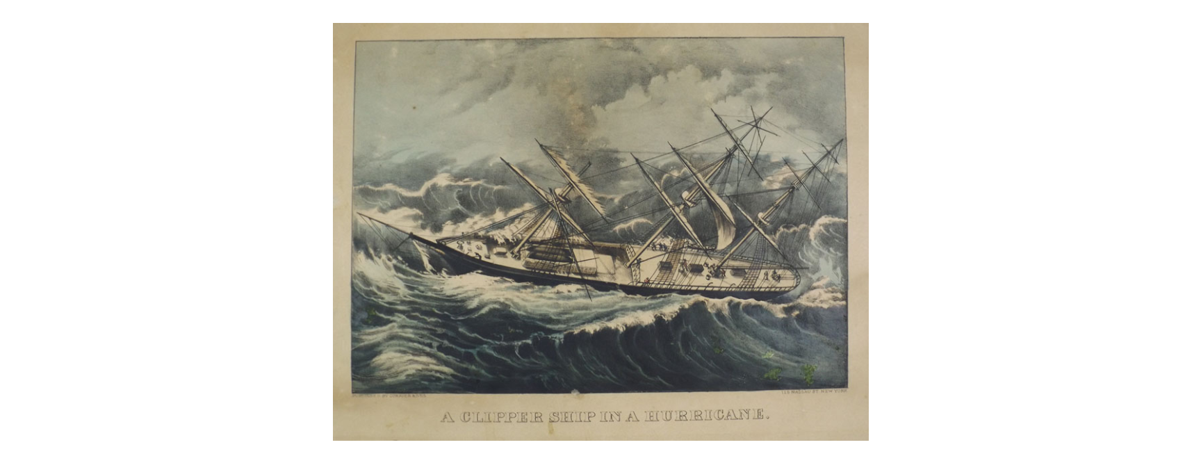 Clipper Ship in a Hurricane- 1855 The Mariners' Museum and Park Collection