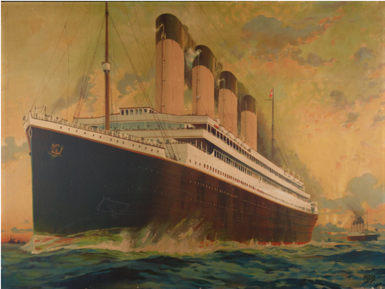 Olympic and Titanic Passing at Sea 1949.0411.000001 The Mariners' Museum and Park Collection